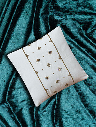 Aayna White Embroidered Cotton Flax Cushion Cover (16in X 16in)