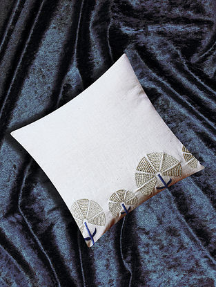 Avirai White Embroidered Cotton Flax Cushion Cover (16in X 16in)