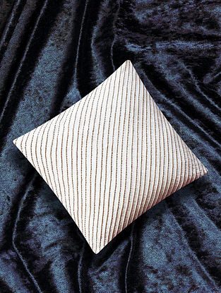 Khat White Embroidered Cotton Flax Cushion Cover (16in X 16in)
