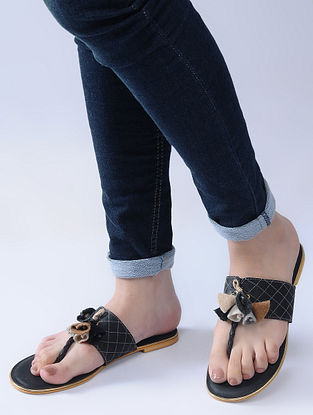 Black Handcrafted Flats with Felt and Jute Tassels
