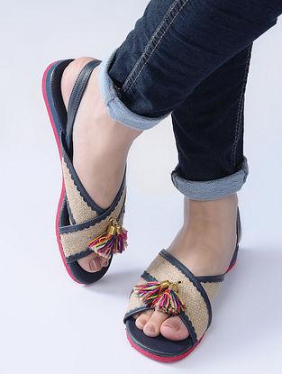 Navy Blue-Beige Handcrafted Jute Sandals with Wool Tassels