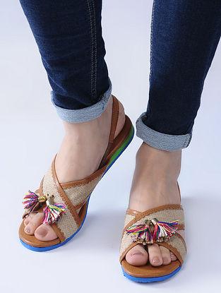 Tan-Beige Handcrafted Jute Sandals with Wool Tassels