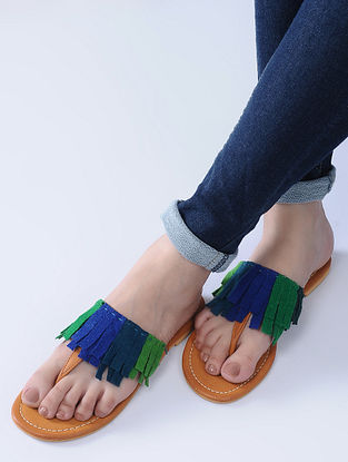 Blue-Green Handcrafted Flats with Felt Fringes
