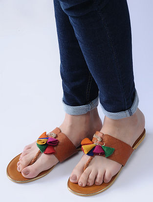 Tan Handcrafted Flats with Felt and Jute Tassels