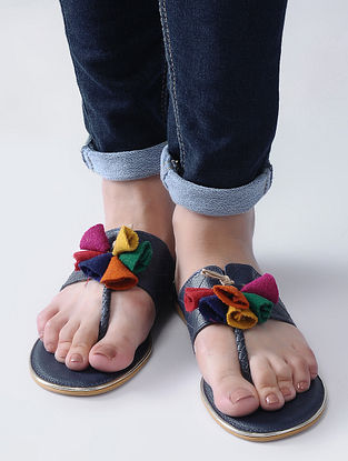 Navy Blue Handcrafted Flats with Felt and Jute Tassels