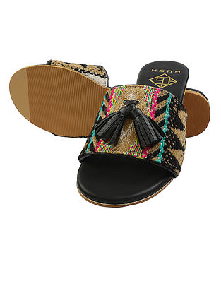 Black-Multicolored Handcrafted Jacquard Flats with Tassels