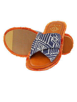 Blue-White Handcrafted Jacquard Flats with Frills