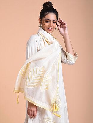 Ivory Yellow Chanderi Silk Stole with Applique Work
