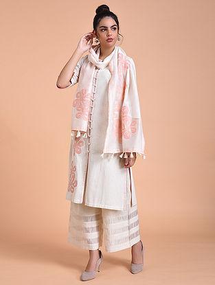 Ivory Pink Chanderi Silk Stole with Applique Work