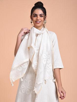 Ivory Chanderi Silk Stole with Applique Work