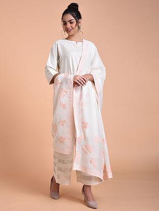 Ivory Rose Pink Chanderi Silk Dupatta with Applique Work