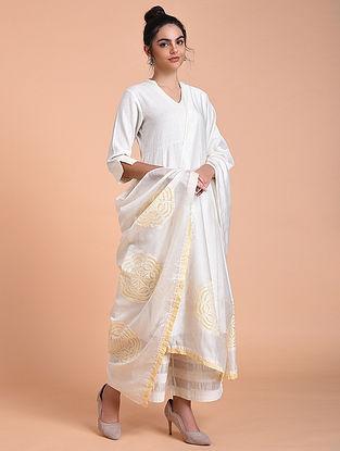 Ivory Yellow Chanderi Silk Dupatta with Applique Work