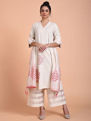 Ivory Rose Pink Flex Cotton Kurta with Applique Work