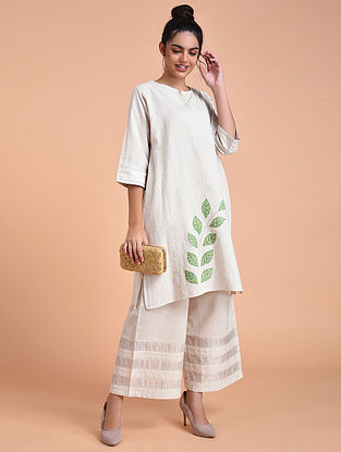 Ivory Green Flex Cotton Kurta with Applique Work