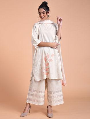 Ivory Pink Flex Cotton Kurta with Applique Work