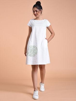 Ivory Green Flex Cotton Dress with Applique Work