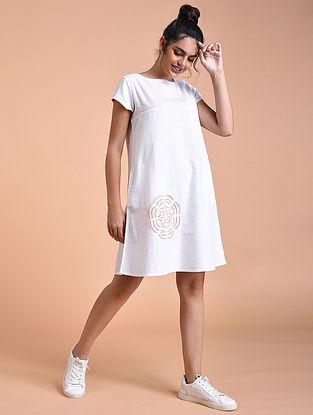Ivory Pink Flex Cotton Dress with Applique Work