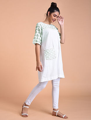 Ivory Green Flex Cotton Tunic with Applique Work