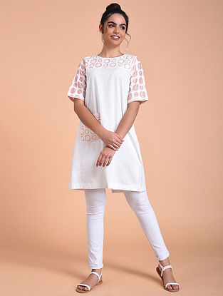 Ivory Rose Pink Flex Cotton Tunic with Applique Work