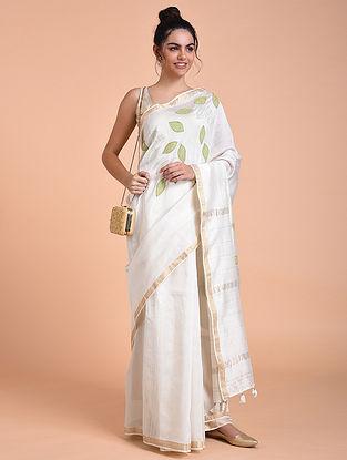 Ivory Green Chanderi Silk Saree with Applique Work