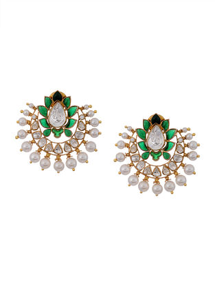 Green Gold Plated Vellore Polki Silver Earrings with Pearls