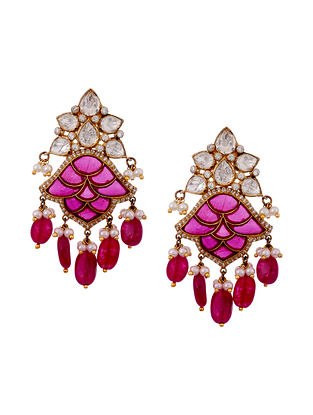 Red Gold Plated Vellore Polki Silver Earrings with Pearls