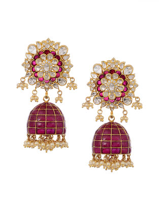 Red Gold Plated Vellore Polki Silver Jhumki Earrings with Pearls