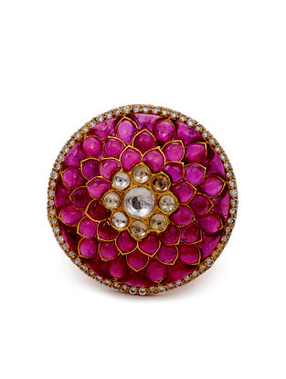 Red Gold Plated Vellore Polki Silver Adjustable Ring