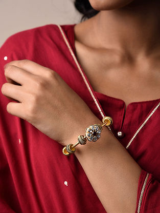 Red Gold Plated Vellore Polki Silver Hinged Bangle with Pearls (Bangle Size: 2)