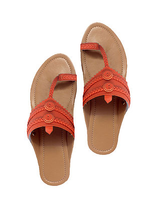 Nude-Orange Handcrafted Leather Flats