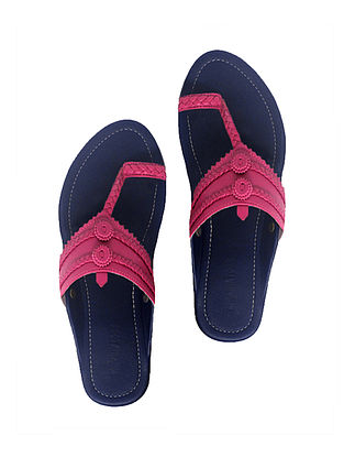 Blue-Pink Handcrafted Leather Flats