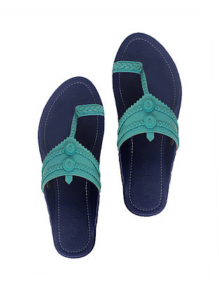 Blue-Turquoise Handcrafted Leather Flats