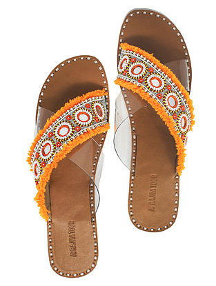 Orange Handcrafted Flats With Mirrors
