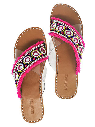 Pink Handcrafted Flats With Mirrors