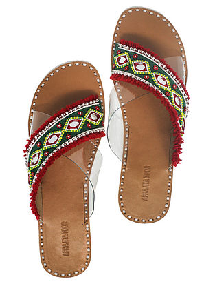 Red-Green Handcrafted Flats With Mirrors