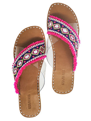 Pink-Blue Handcrafted Flats With Mirrors