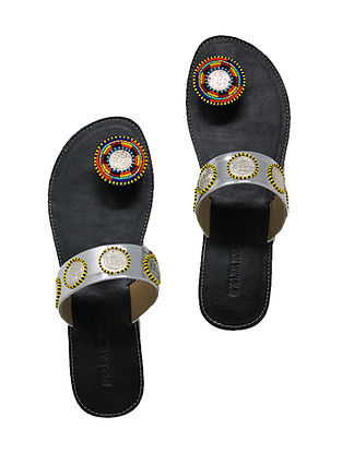 Black-Multicolored Handcrafted Flats