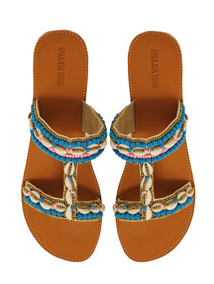 Tan-Blue Handcrafted Flats