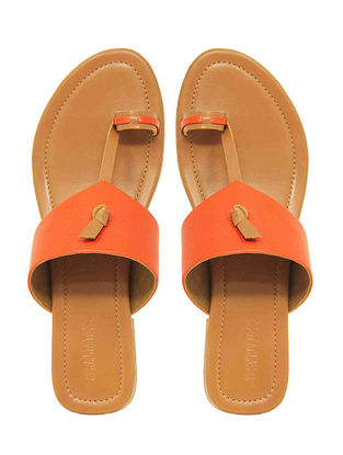 Orange Handcrafted Leather Flats