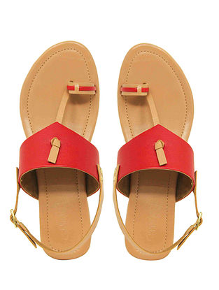 Red Handcrafted Leather Flats with Back Strap