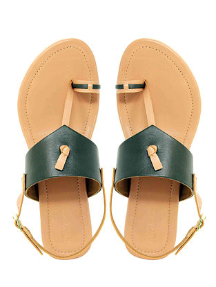 Olive Handcrafted Leather Flats with Back Strap