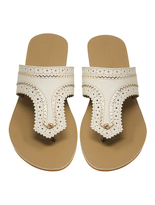 White-Beige Handcrafted Flats