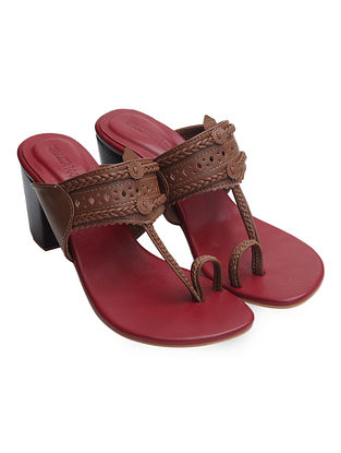 Maroon-Brown Handcrafted Leather Block Heels