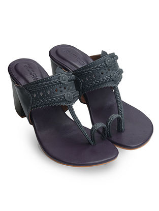Grey-Purple Handcrafted Leather Block Heels