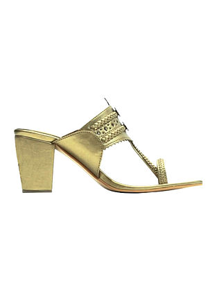 Golden Handcrafted Block Heels