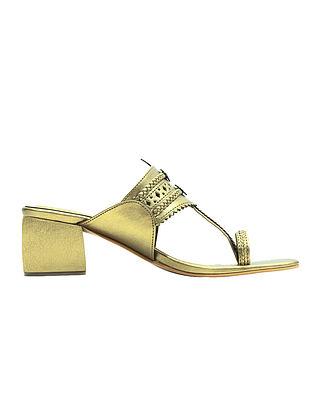 Golden Handcrafted Block Heels