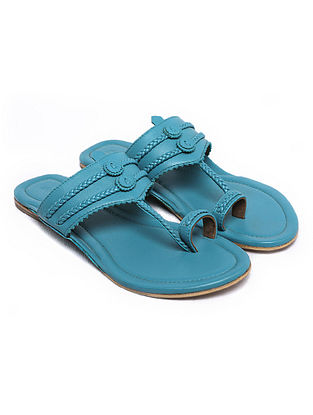 Aqua Handcrafted Leather Kolhapuri Flats