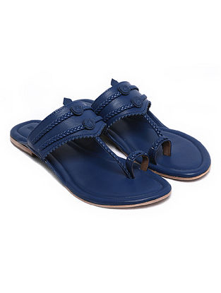 Dark Blue Handcrafted Leather Kolhapuri Flats