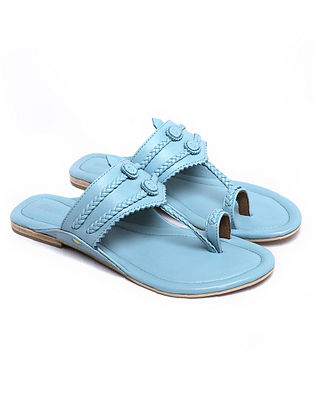 Sky Blue Handcrafted Leather Kolhapuri Flats