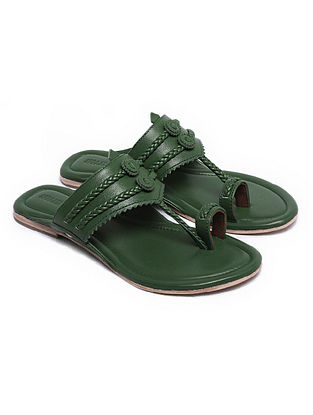 Dark Green Handcrafted Leather Kolhapuri Flats